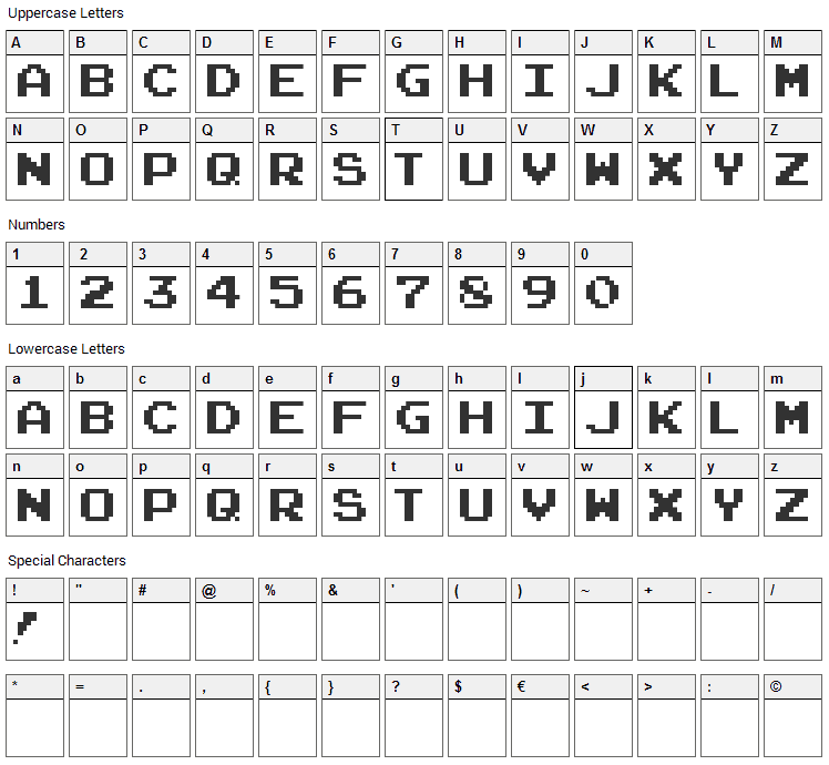 Arcade Classic Pizz Font Character Map
