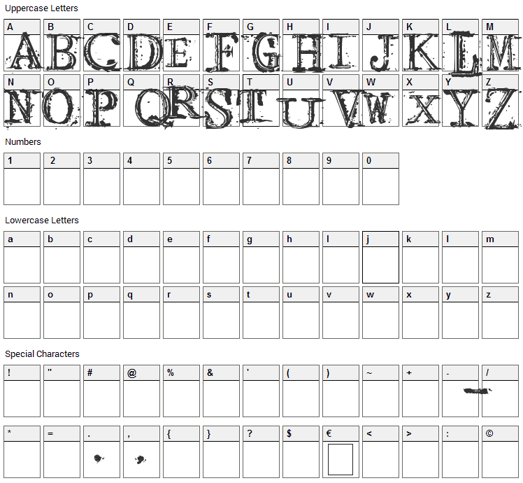 Arcade fire Font Character Map