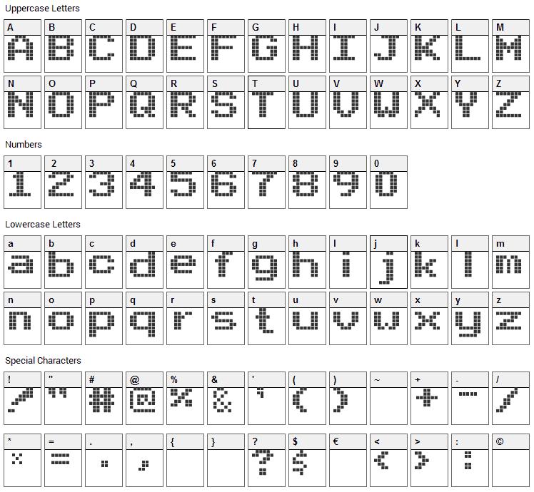 Arcade PizzaDude Font Character Map