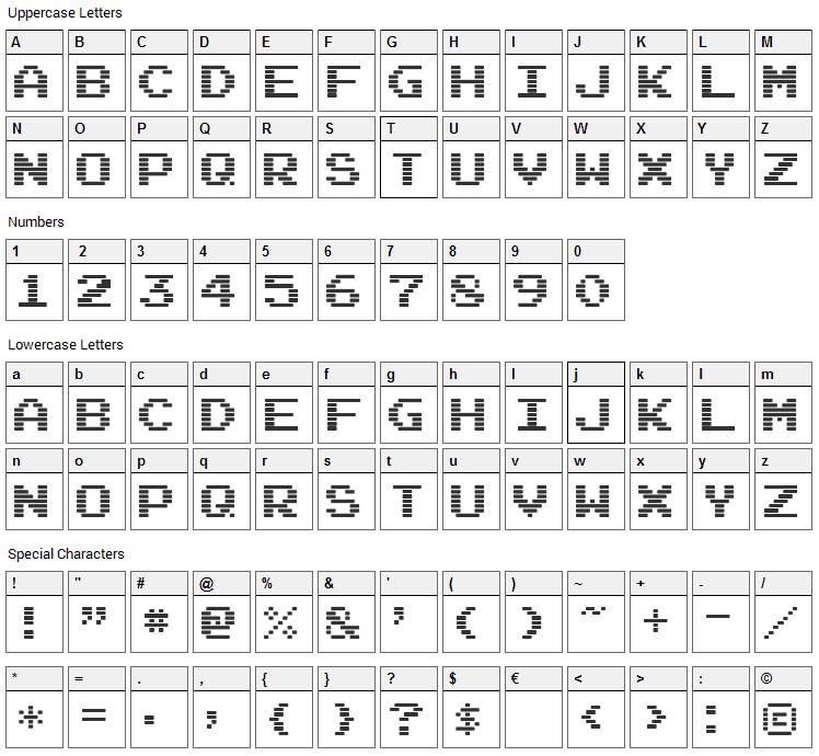 Arcade Ya Font Character Map