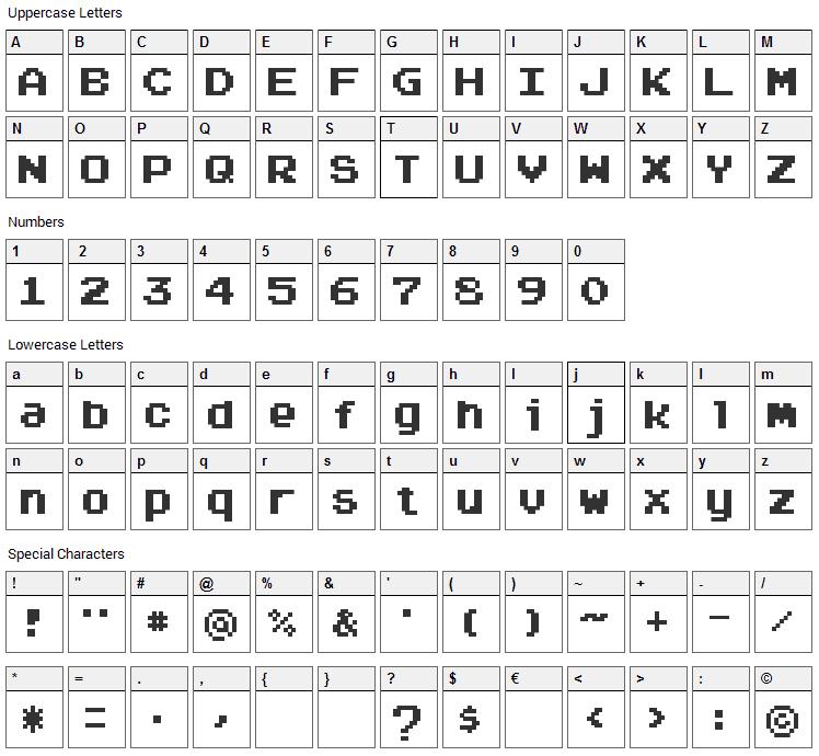 Arcadepix Font Character Map
