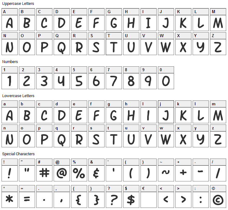 Arch Rival Font Character Map