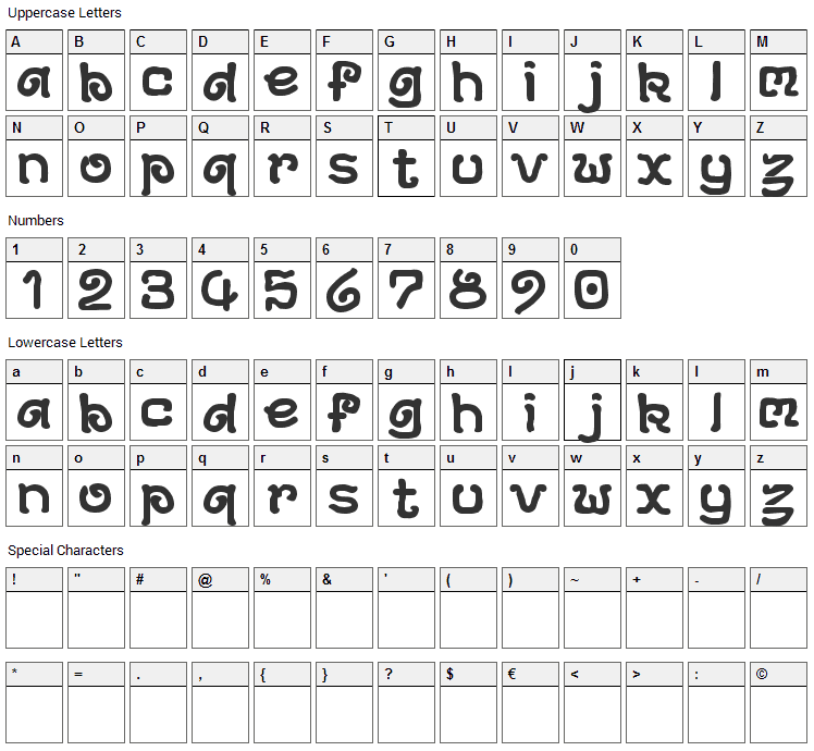 Archeology Font Character Map