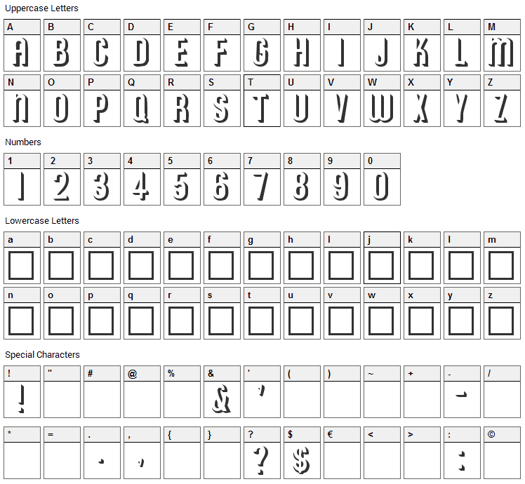 Archer Font Character Map