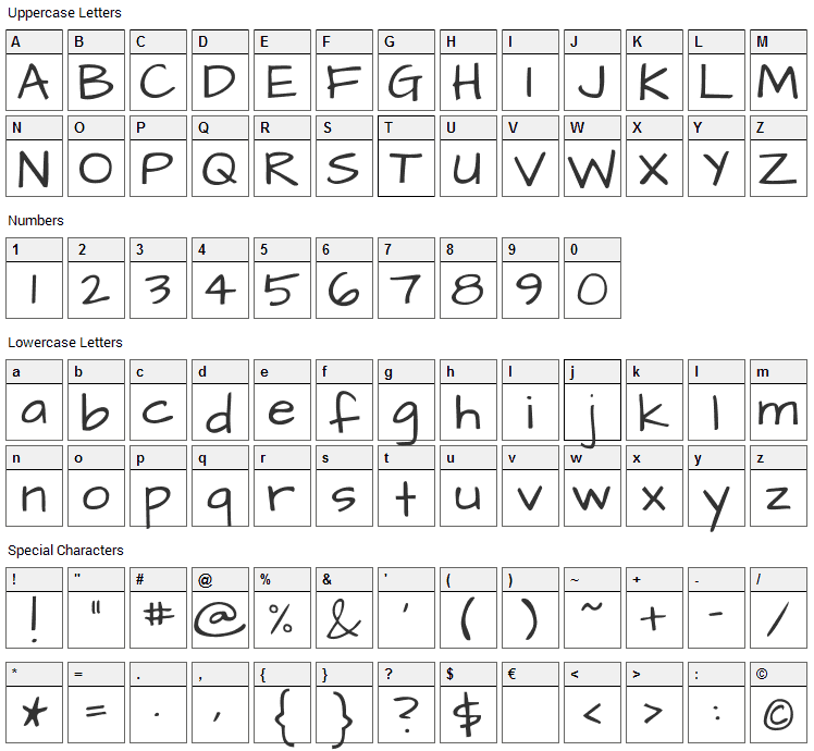 Architects Daughter Font Character Map