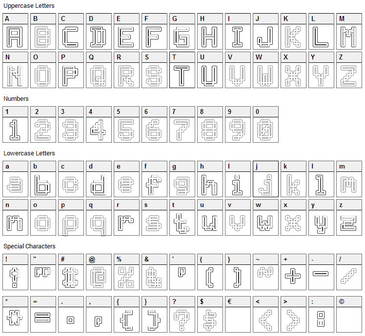 Archway Font Character Map