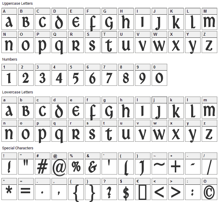 Ardagh Font Character Map