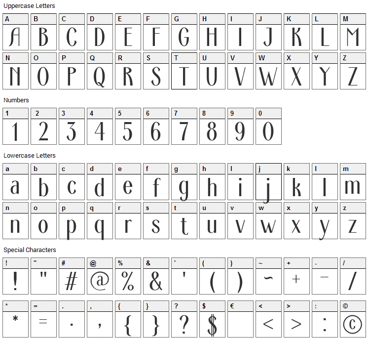 Ardeco Font Character Map