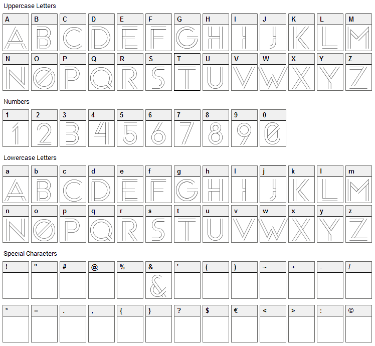 Arenq Font Character Map