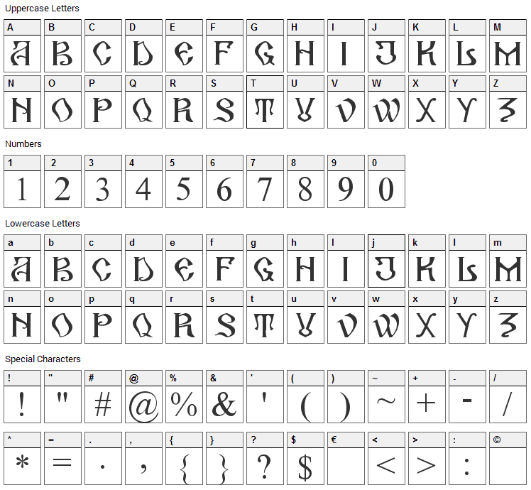 Arhaic Romanesc Font Character Map