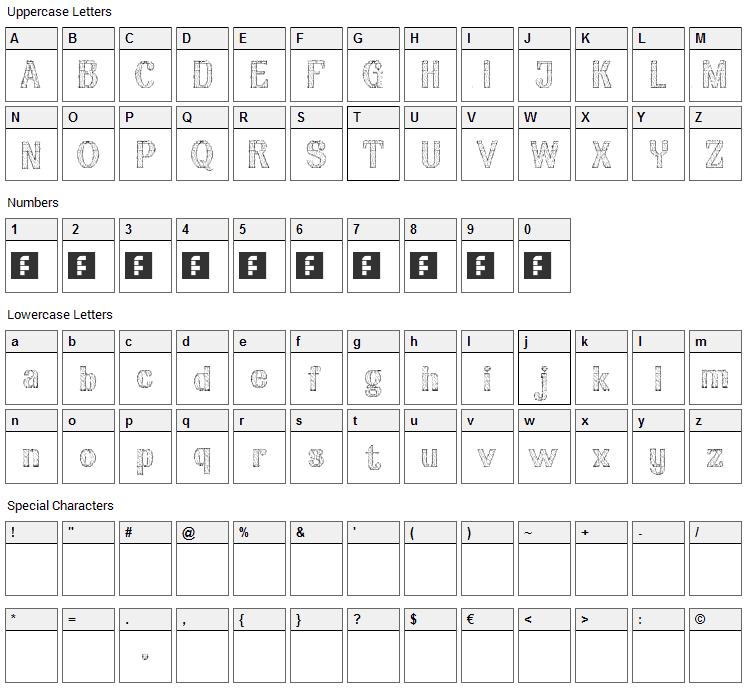 Aria Penci Roman Font Character Map