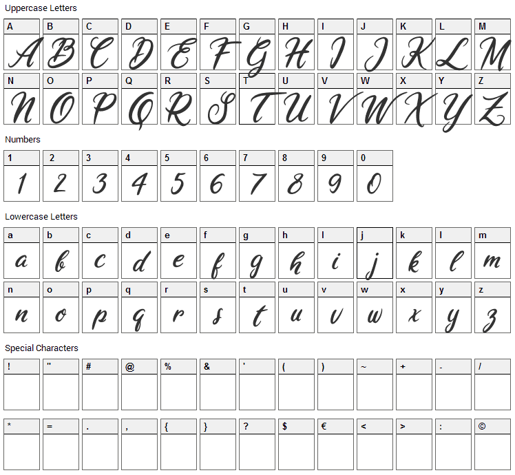 Ariana Violeta Font Character Map