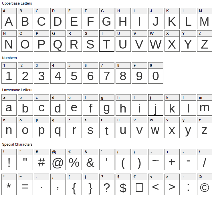 Arimo Font Character Map