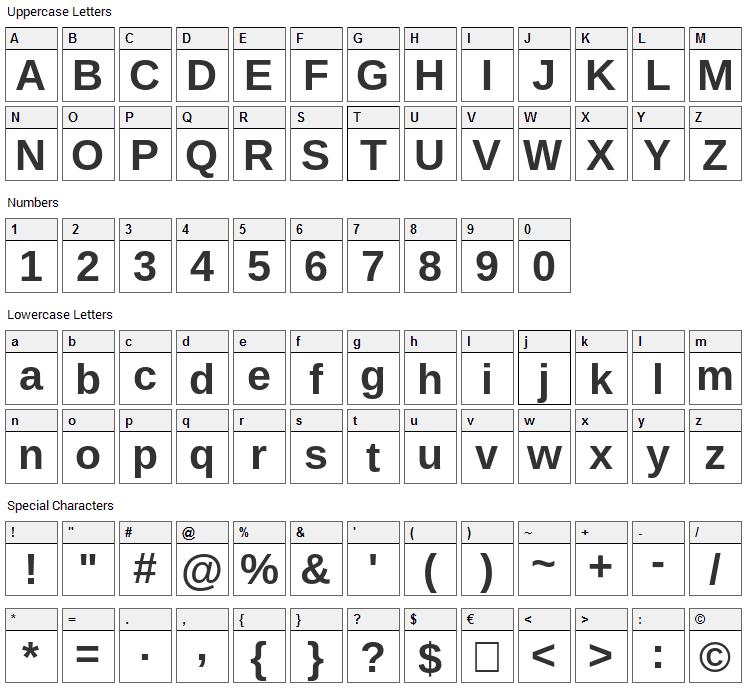 Arino Font Character Map