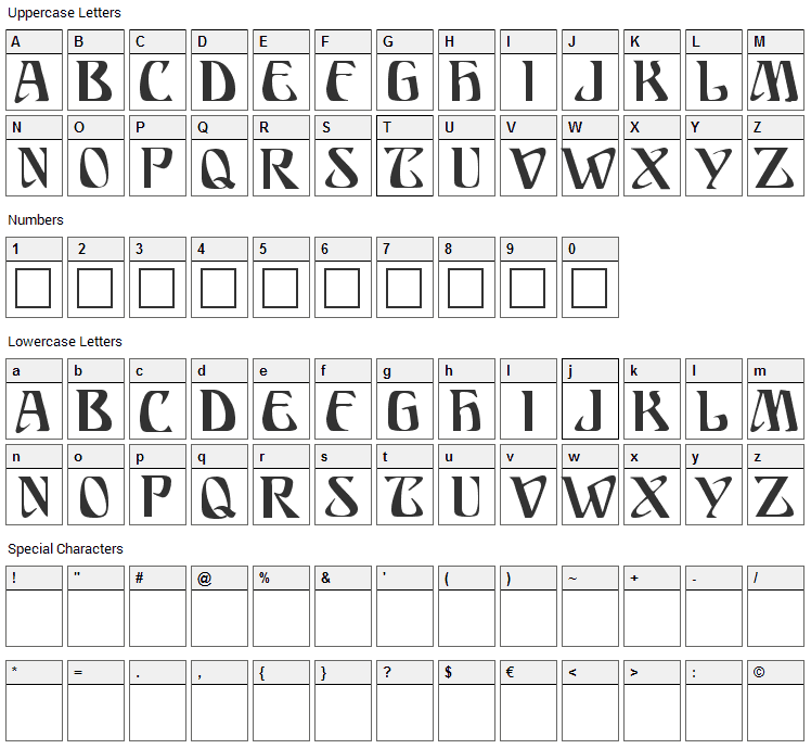 Ariosto Font Character Map