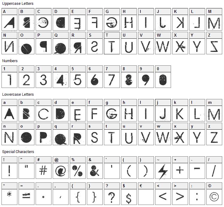 Aristotle Punk Font Character Map
