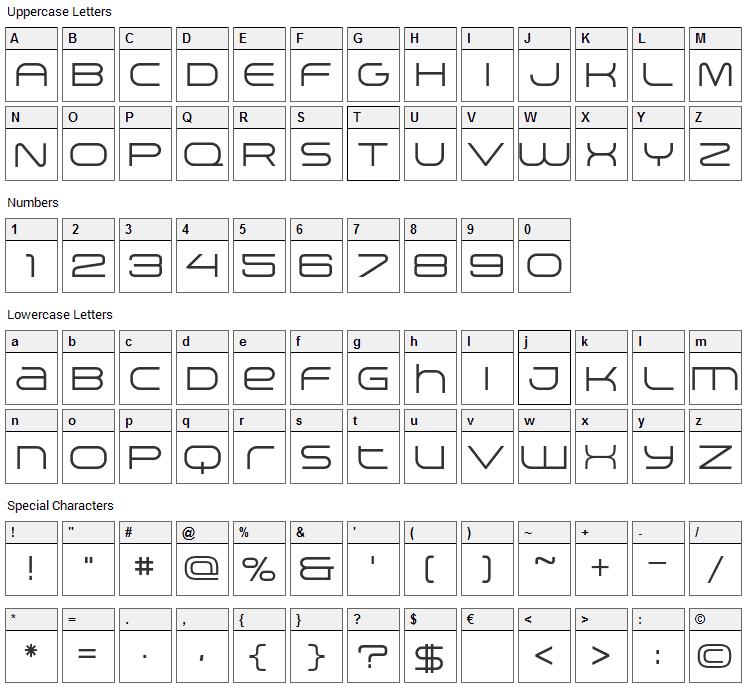 Arkitech Font Character Map