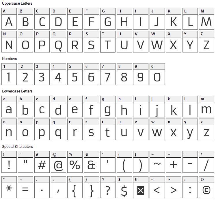 Armata Font Character Map