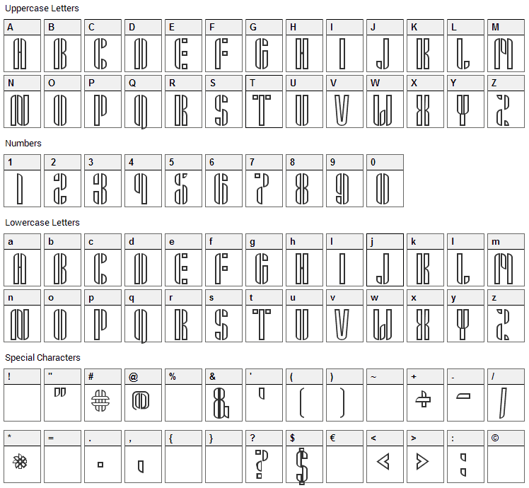 Armin Font Character Map