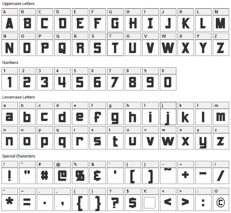 Armorhide Font Character Map