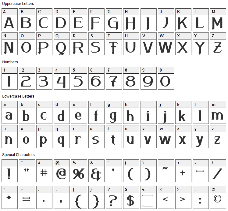 Arneson Font Character Map