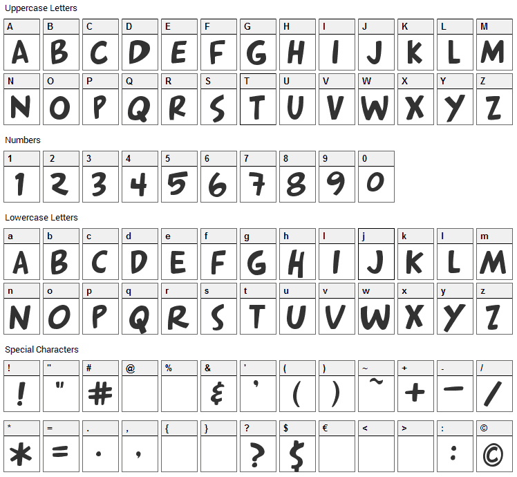 Arnold Font Character Map