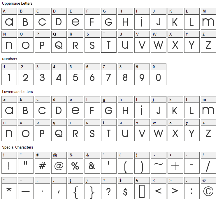 Arriere Garde Font Character Map