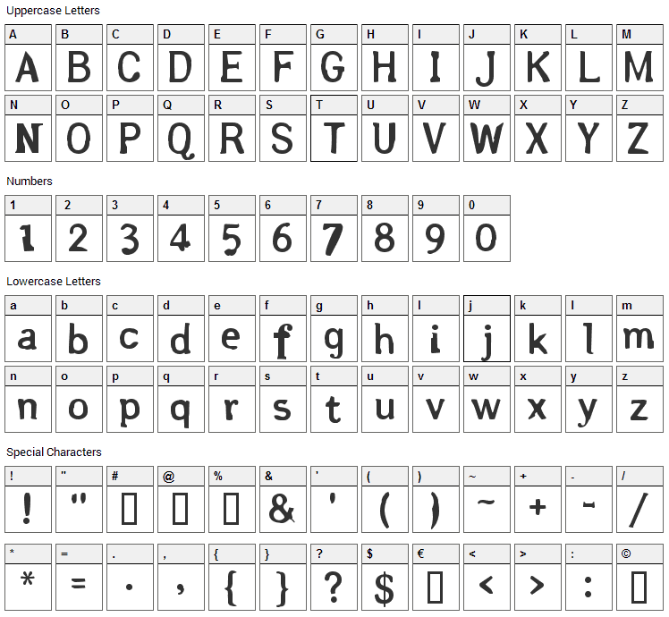 Arsle Gothic Font Character Map