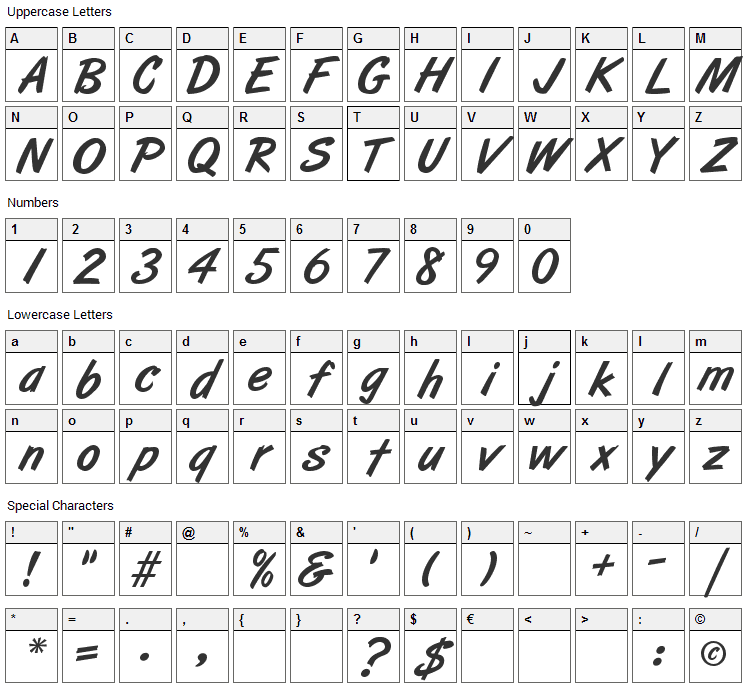 Art Brush Font Character Map