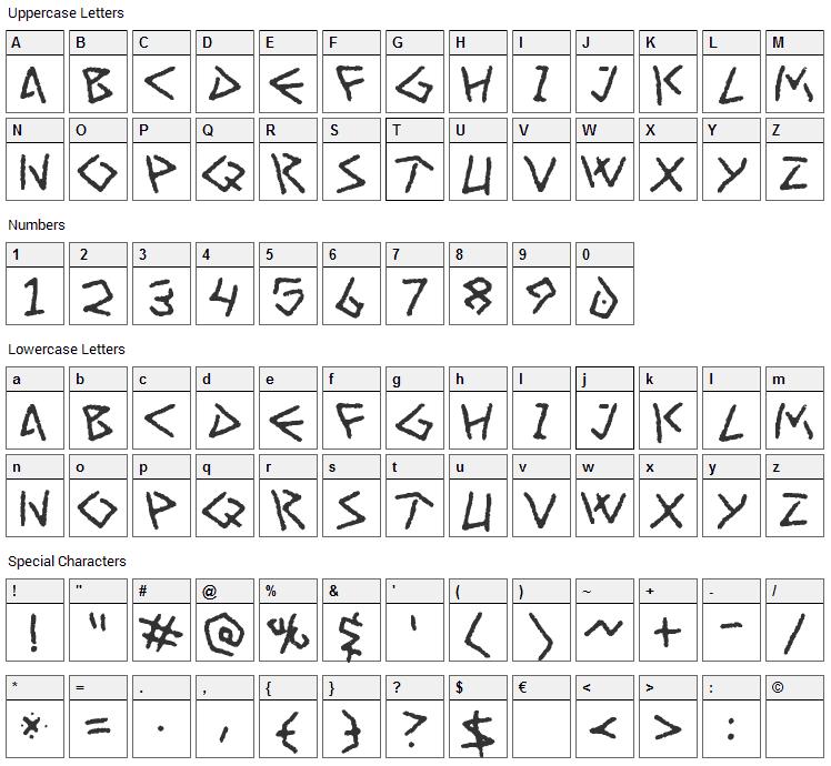 Art Greco Font Character Map
