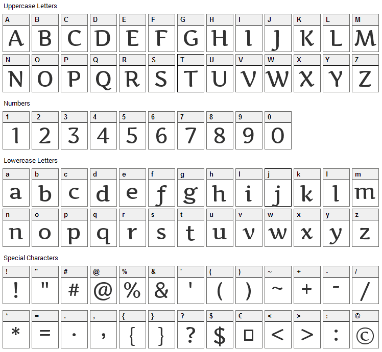 Artifika Font Character Map