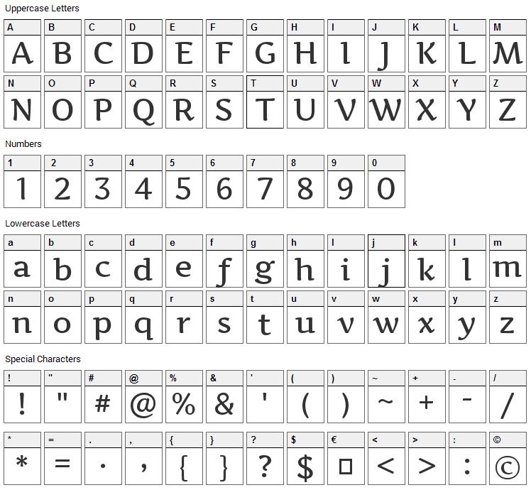 Artifika Font Character Map