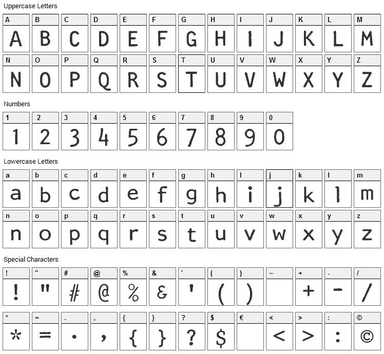 Artisan 12 Font Character Map