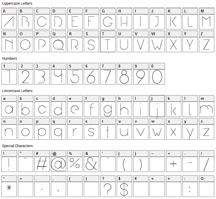Arual Font Character Map