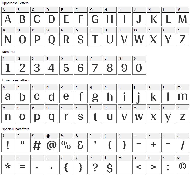 Arya Font Character Map