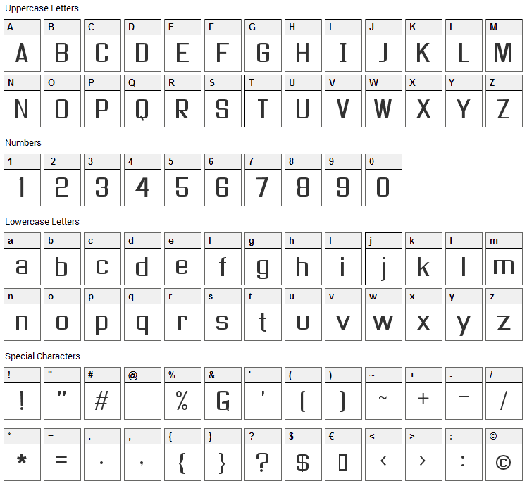As seen on TV Font Character Map