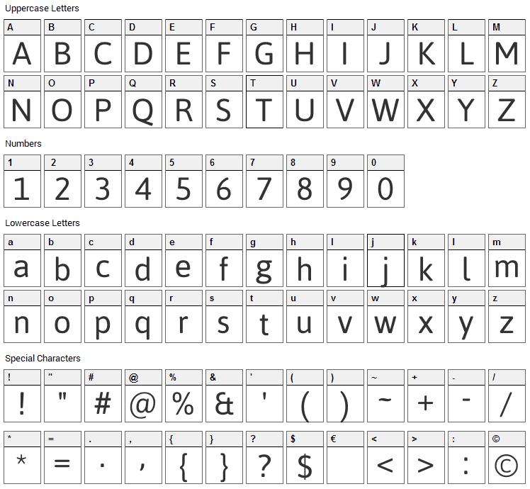 Asap Font Character Map
