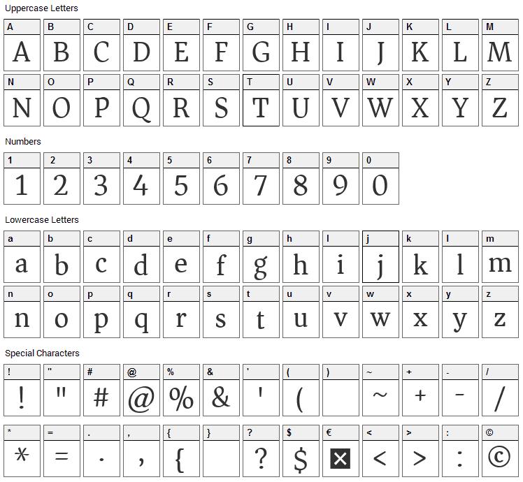 Asar Font Character Map