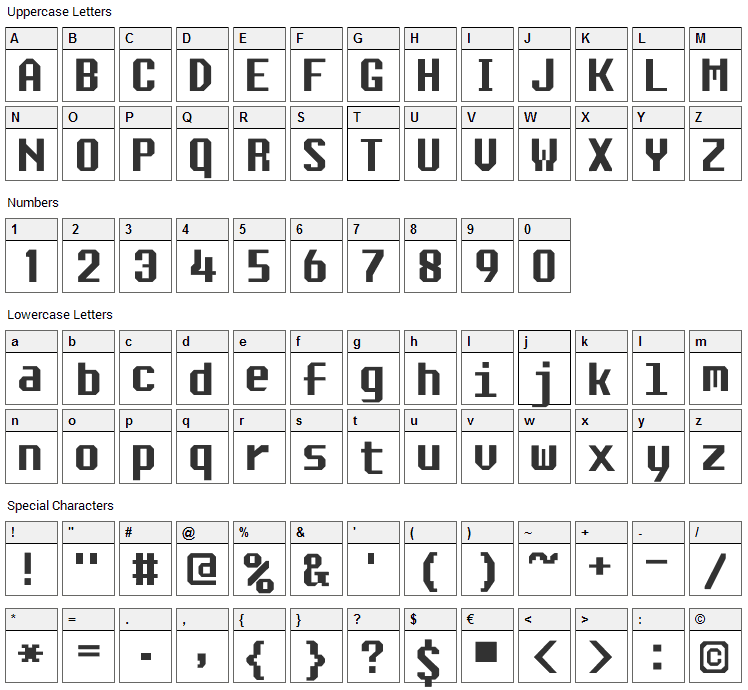 Ascsys Font Character Map