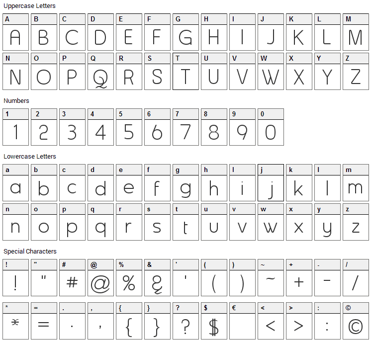 Asenine Font Character Map