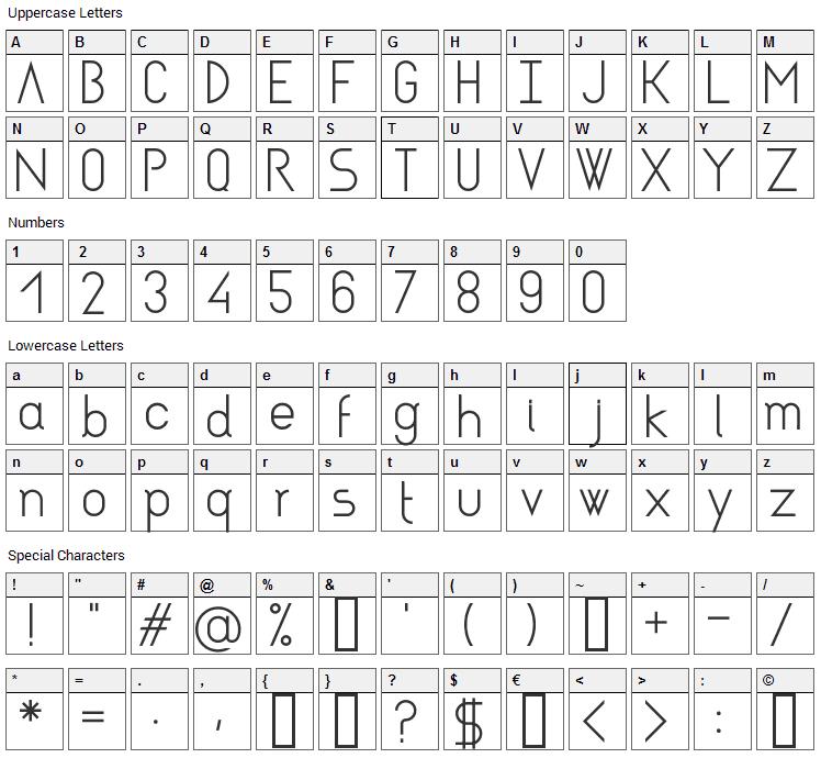 Asgalt Font Character Map