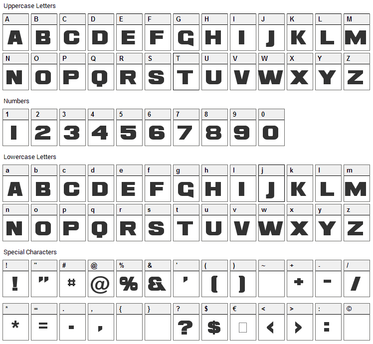 Ash Font Character Map