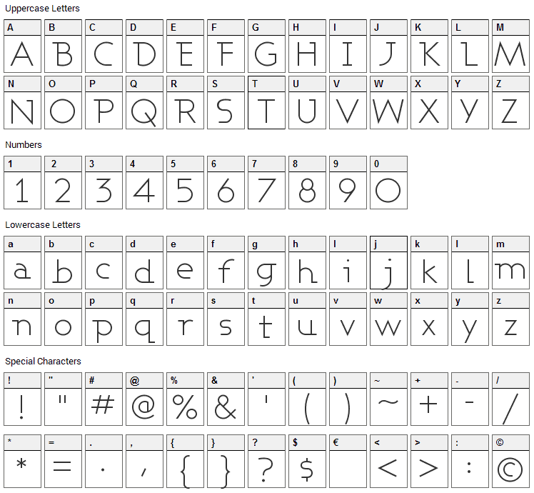 Ashby Font Character Map