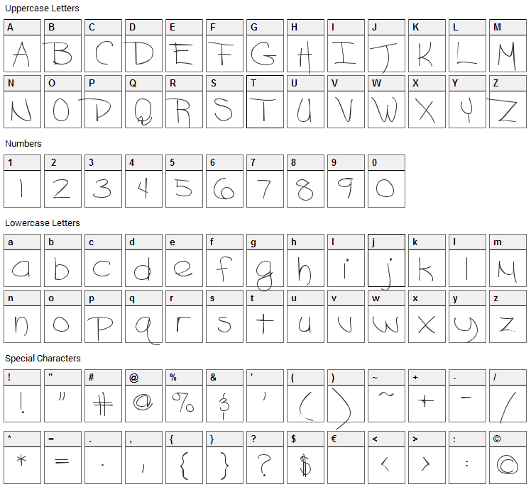 Ashley Font Character Map