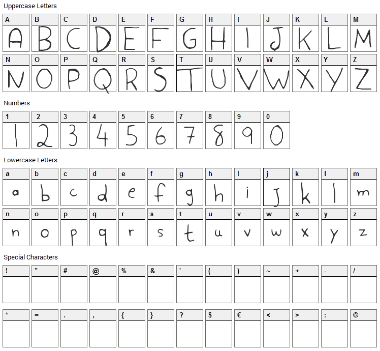 Aspargo Font Character Map