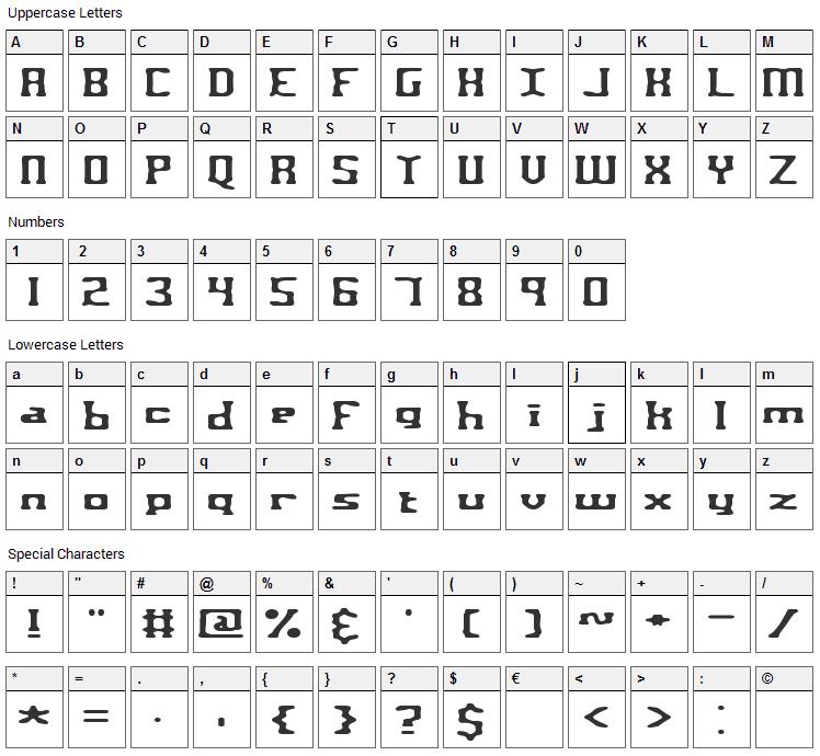 Aspartame Font Character Map