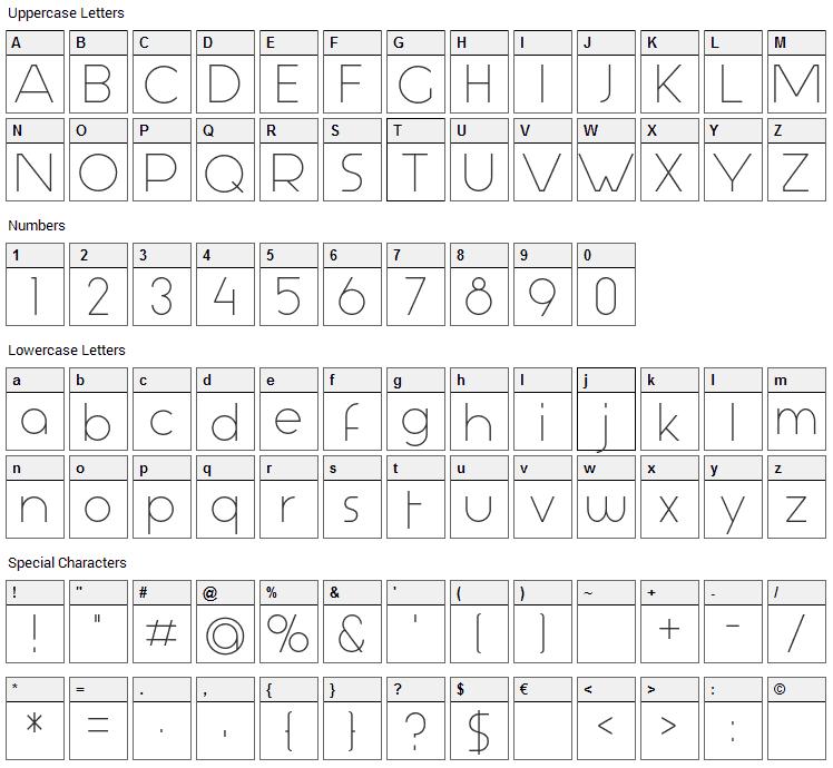 Aspergit Font Character Map