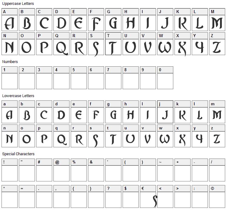 Asrafel Font Character Map