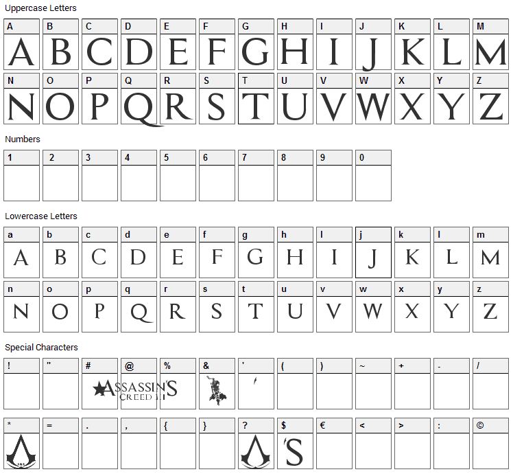 Assassin Font Character Map