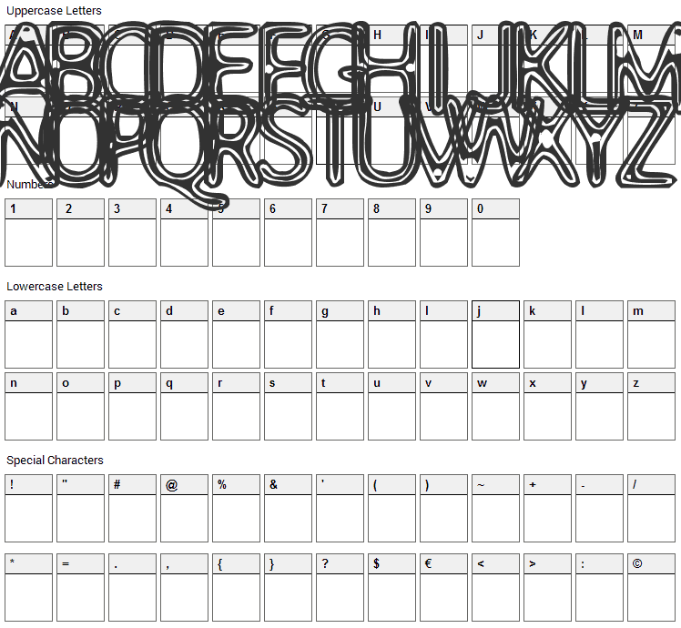Assimilate Font Character Map